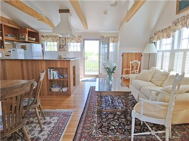 Siasconset Nantucket vacation rental - Open livingroom, diningroom, kitchen area with cathedral ceiling.