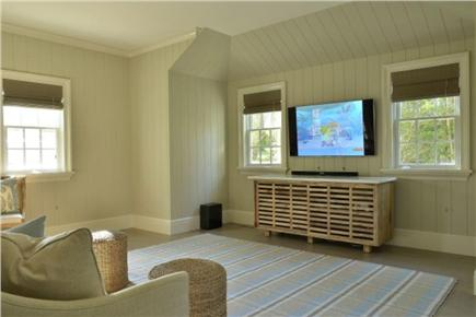 Nantucket town, Cliff Road Nantucket vacation rental - Sunroom with Sonos, TV, desk and couch