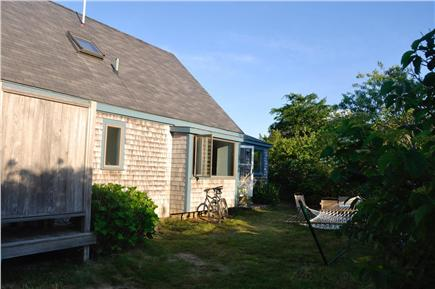 Surfside Nantucket vacation rental - Back yard with outdoor shower and hammock