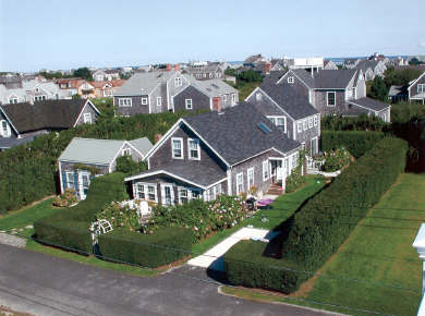 Brant Point Nantucket vacation rental - Aerial view of house and hedges providing privacy