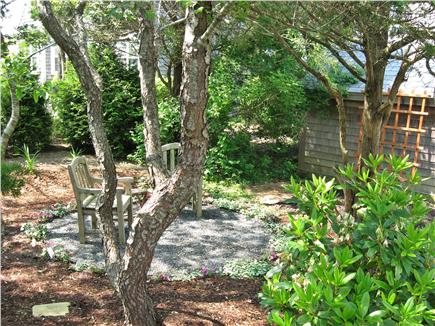 Mid-island, Nashaquisset Nantucket vacation rental - The ''secret garden'' section of the private back yard.